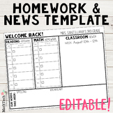 EDITABLE Homework & Newsletter Template