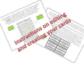 EDITABLE Star Card Homework Punch Cards for Sight Words