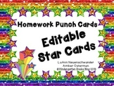 EDITABLE Star Card Homework Punch Cards for Sight Words