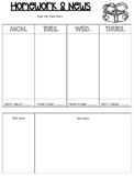 *EDITABLE* Homework and News Template