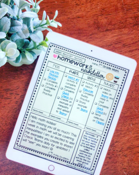 EDITABLE Homework and Newsletter Templates in 36 Different Styles
