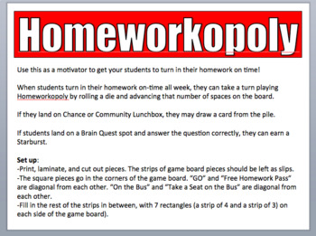 EDITABLE Homeworkopoly Game Board with Chance and Community Lunchbox Cards