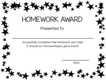 EDITABLE:  Homeworkopoly award certificate/Homework certificate