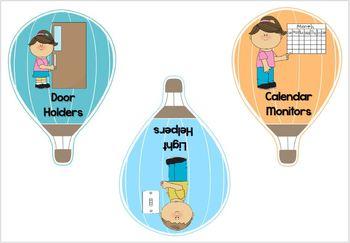 EDITABLE Hot Air Balloon Themed Classroom Jobs