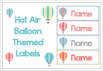 EDITABLE Hot Air Balloon Themed Labels