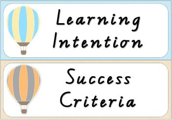 EDITABLE Hot Air Balloon Themed Learning Intentions