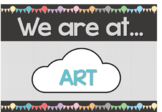 EDITABLE Hot Air Balloon Themed 'We are at...' Sign (Class
