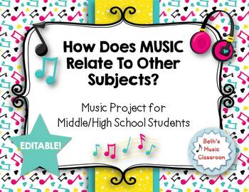 EDITABLE! How Does Music Relate to Other Subjects? Middle/High School Project