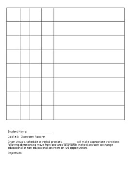 EDITABLE IEP data sheet - classroom routines personal management & more