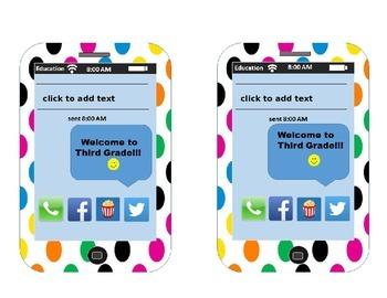 EDITABLE! IPhone Themed Back-To-School Deskplates Third Grade
