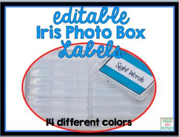 EDITABLE IRIS Photo/Task Card labels