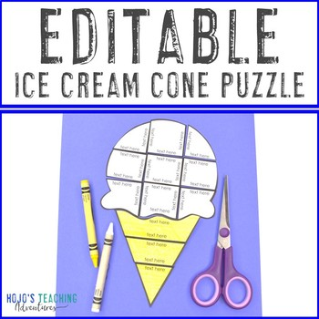 image relating to Make a Puzzle From a Picture Printable called EDITABLE Ice Product Cone Printable Puzzle - Produce your individual recreation upon ANY subject matter!