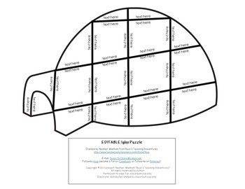 EDITABLE Igloo Centers or Activities - Make your own Math or Literacy Puzzles!