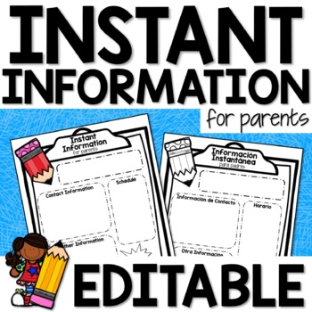 EDITABLE Information Sheet for Back to School Night
