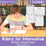EDITABLE Informative Writing or Explanatory Writing Rubric for High School