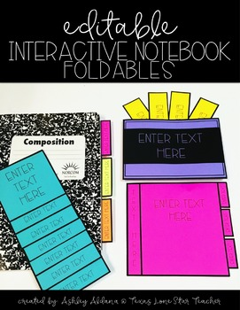 EDITABLE Interactive Notebook Foldables (for personal use only)