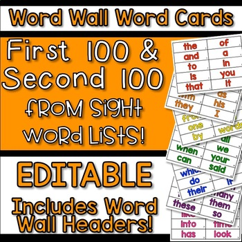 EDITABLE Interactive Word Wall Word Cards 1st & 2nd 100 Word Lists