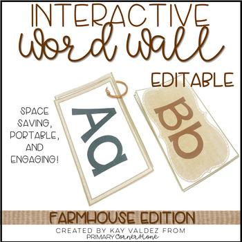 Portable Word Wall-Interactive Word Wall-EDITABLE (Farmhouse)