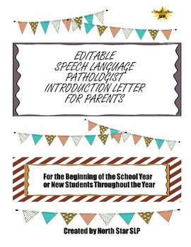 EDITABLE Introduction Letter to Parents for Speech Language Pathologists