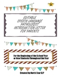 EDITABLE Introduction Letter to Parents for Speech Languag