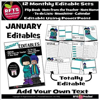 EDITABLE JANUARY -FLIP BOOKS - MONTHLY NEWSLETTERS - CALENDARS - TO-DO-LISTS