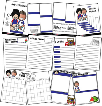 EDITABLE JULY -FLIP BOOKS - MONTHLY NEWSLETTERS - CALENDARS - TO-DO-LISTS