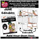 EDITABLE JUNE -FLIP BOOKS - MONTHLY NEWSLETTERS - CALENDAR