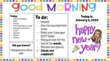 EDITABLE January 2020 Morning Slide Template
