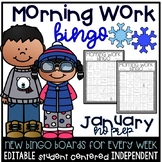 EDITABLE January Morning Work Bingo