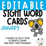 EDITABLE January sight word cards for games and Write the