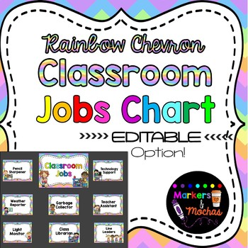 EDITABLE Jobs Chart ~ RAINBOW Chevron