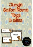 EDITABLE Jungle Safari Name Tags 3 different sizes Included