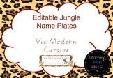 EDITABLE Jungle Themed Desk Name Plates VIC Font