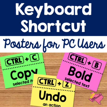 EDITABLE Keyboard Shortcut Posters for PC Users