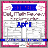 Math Morning Work Kindergarten April Editable, Spiral Revi