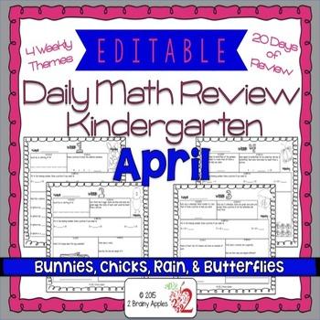 Math Morning Work Kindergarten April Editable