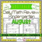 Math Morning Work Kindergarten August Editable