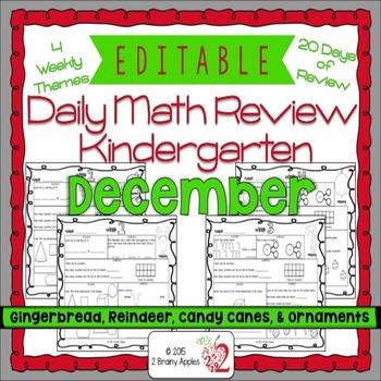 Math Morning Work Kindergarten December Editable