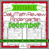 Math Morning Work Kindergarten December Editable, Spiral R
