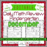 Math Morning Work Kindergarten December Editable, Spiral R