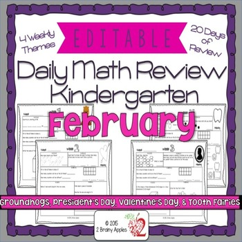 Math Morning Work Kindergarten February Editable