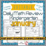 Math Morning Work Kindergarten January Editable, Spiral Re