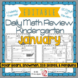 Math Morning Work Kindergarten January Editable, Spiral Re
