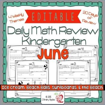 Math Morning Work Kindergarten June Editable
