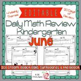 Math Morning Work Kindergarten June Editable, Spiral Revie