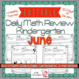 Math Morning Work Kindergarten June Editable, Spiral Revie