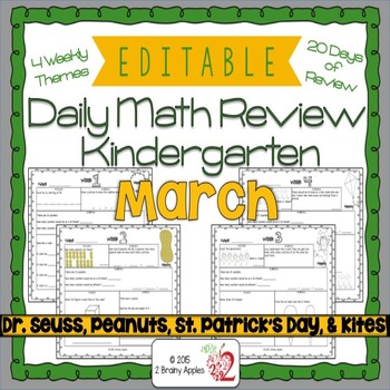 Math Morning Work Kindergarten March Editable