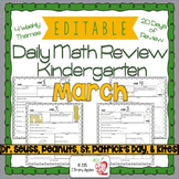 Math Morning Work Kindergarten March Editable