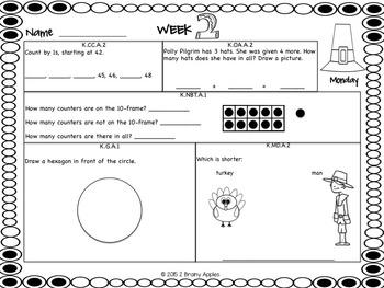 Math Morning Work Kindergarten November Editable