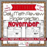 Math Morning Work Kindergarten November Editable